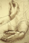 drawing of hands by Leonardo da Vinci