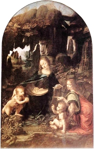 'Madonna of the Rocks' by Leonardo da Vinci. The Louvre version.