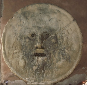 First-century plaque or well cover embedded into the wall of the church of 'Santa Maria in Cosmedin,' in Rome.